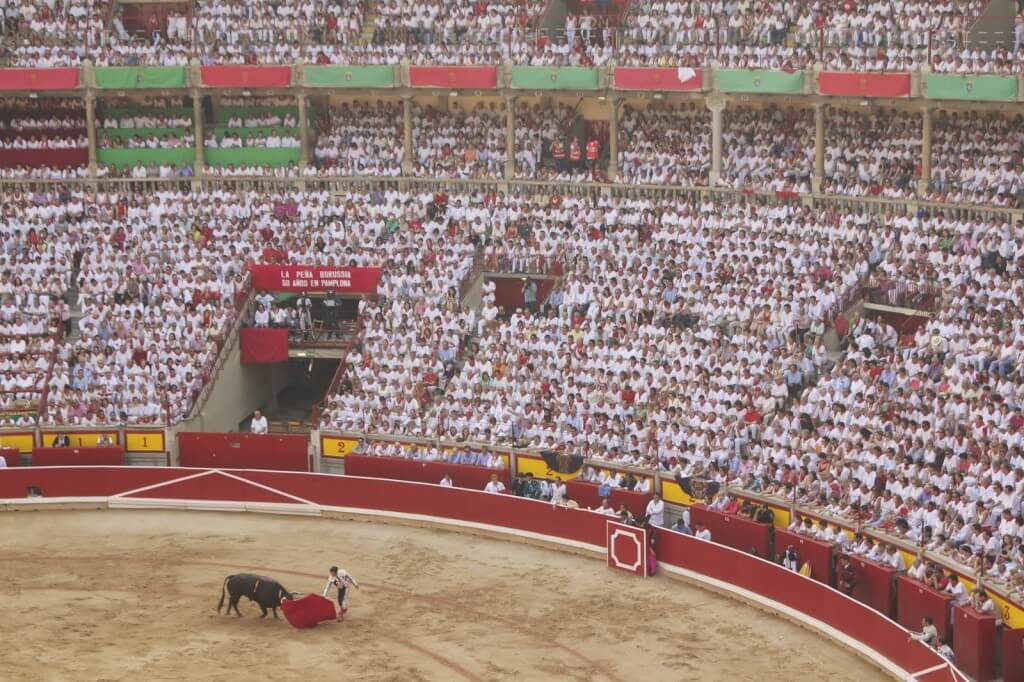A bull fight at the Plaza de Toros